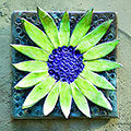 Green flower tile with pale green petals